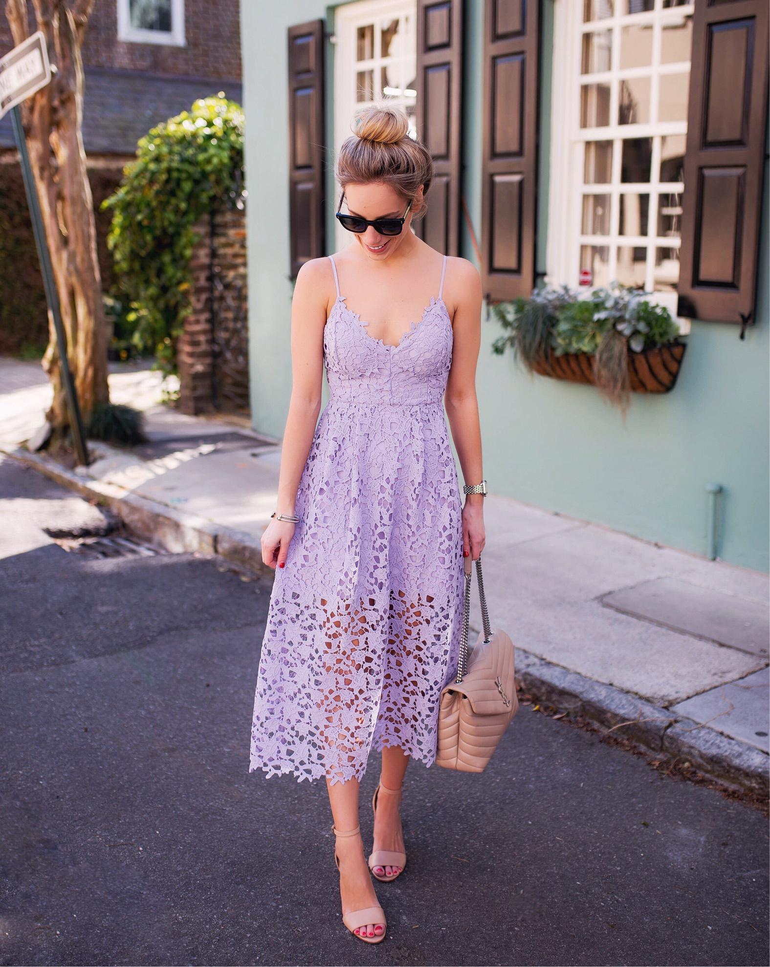 ASTR Lavender Lace Midi Dress  Katies Bliss