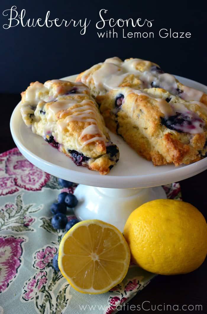Blueberry Scones with Lemon Glaze  Katies Cucina