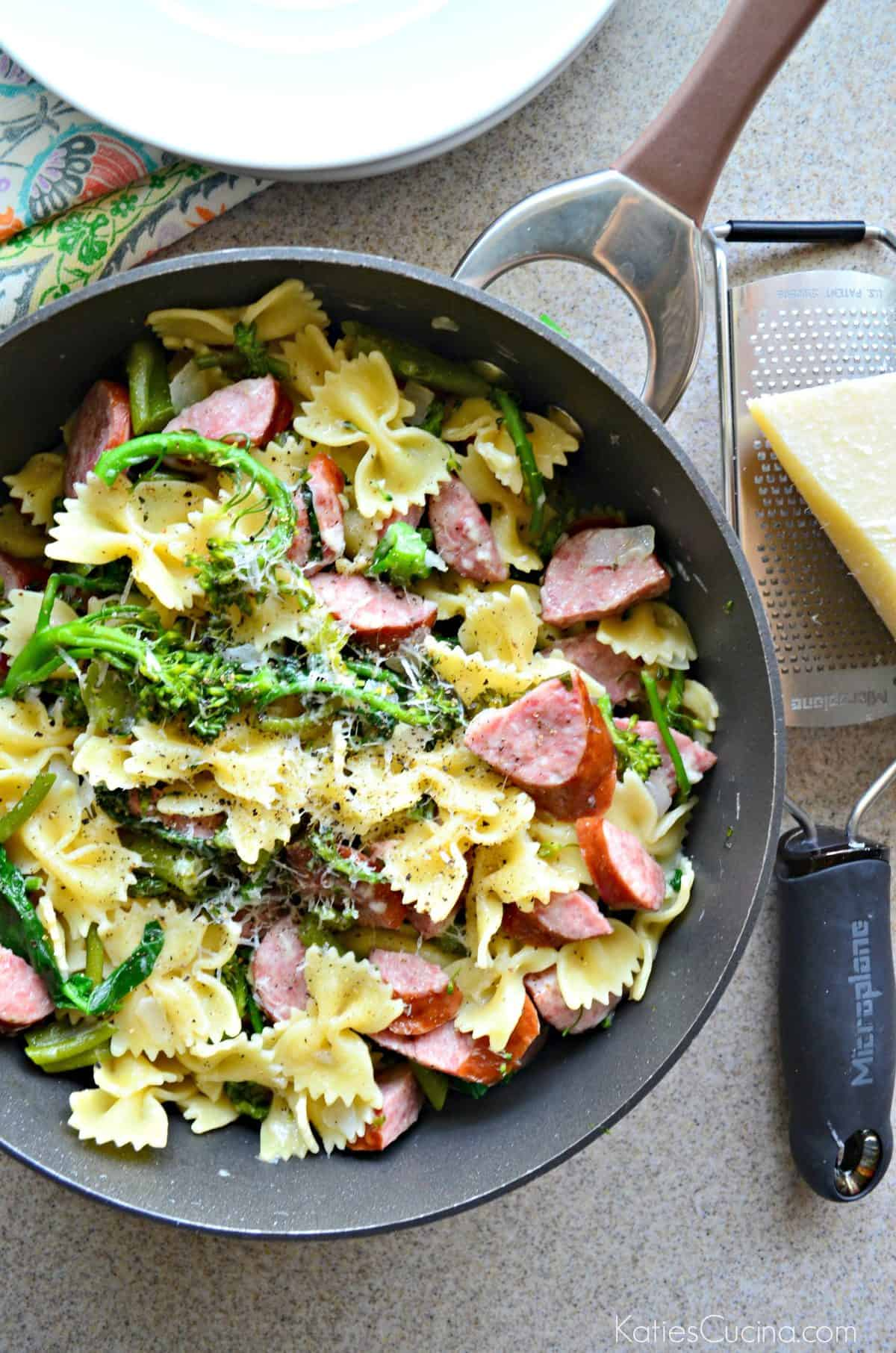 One Pot Kielbasa  Broccoli Pasta  Katies Cucina