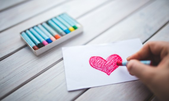 crayons and heart
