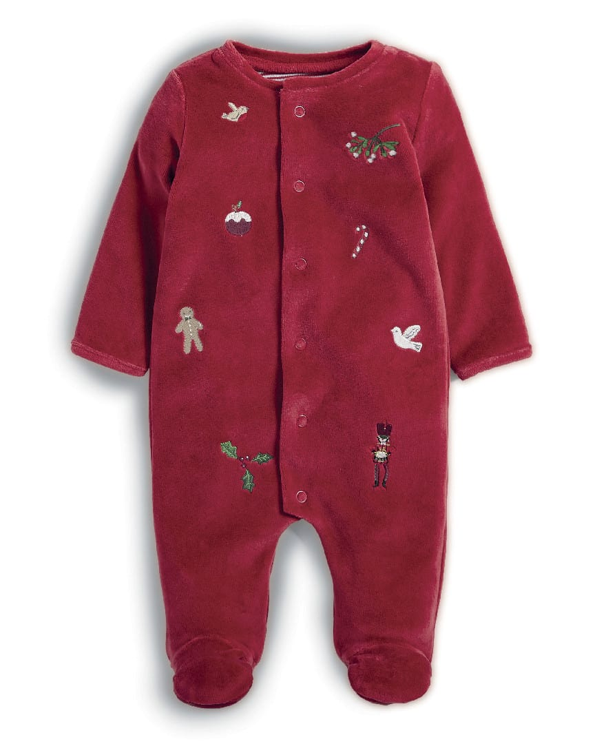 Mamas & Papas Red Velour Embroidered Christmas Sleepsuit
