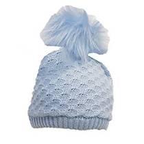 SHEL Blue Crochet Bobble Hat