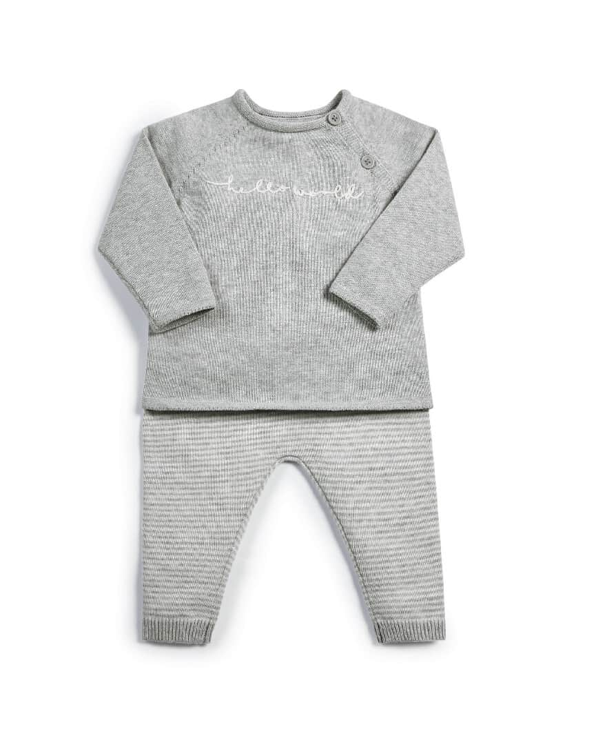 Mamas & Papas Welcome To The World Grey Knitted 2 Piece Set