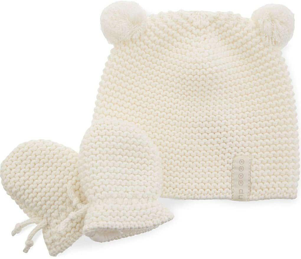 Natures Purest Cream Pom Pom Hat & Mitts Set- 0-6 Months