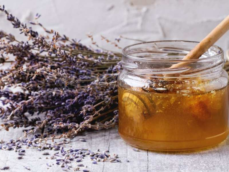 Ingredients for an easy homemade face mask made with honey and lavender