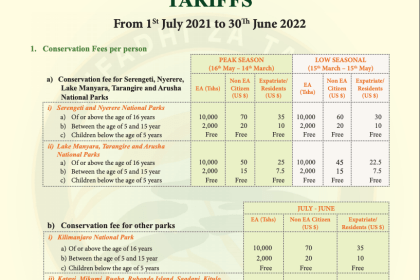 New 2021 Tanzania Park Entry Fees