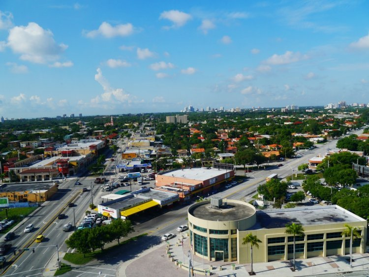 Image of aerial view over Little Havana residential area of Miami