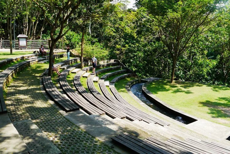 Image of stone stair seating area in Ubud monkey forest temple