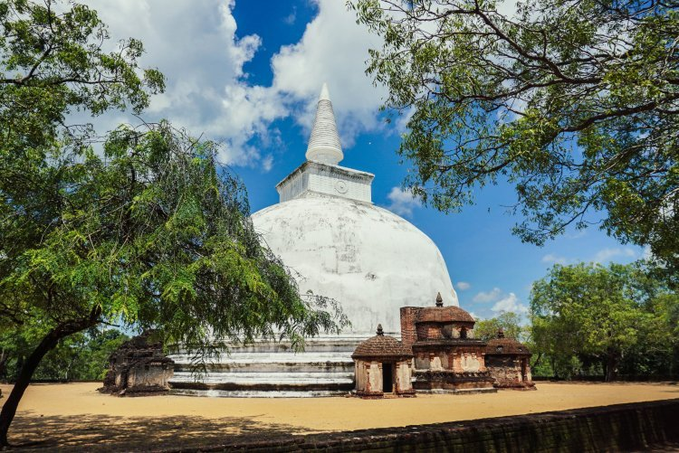 Image of ancient white dome buddhist temple building in Polonnaruwa Sri Lanka