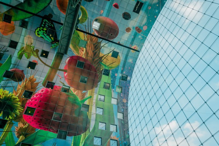 Image showing the ceiling painted with fruits and flowers in Markthal Rotterdam