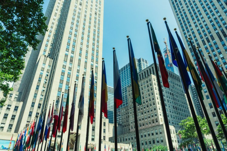 Image of the bottom Rockefeller Center with flags