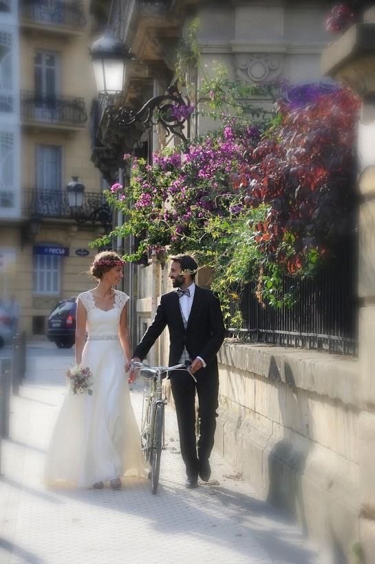 Fotografía de boda urbana en Donostia.