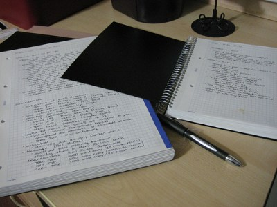 two notebooks on a desk