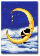 cat  being cuddled by creascent moon in a starry sky