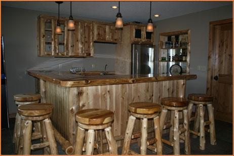 Custom Northern White Cedar Bar  Bar Stools