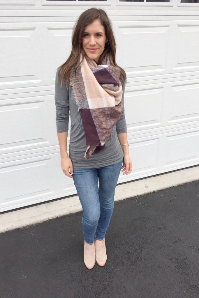 how to tie a blanket scarf - the pull through finished look