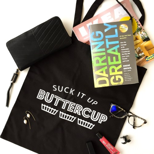 Suck it up butter cup reusable tote bag