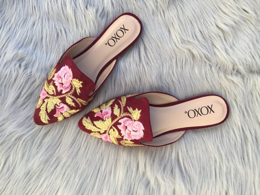 embroidered mules add the pop to any fall outfit