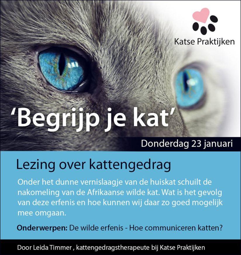 Aankondiging lezing 'Begrijp je kat'