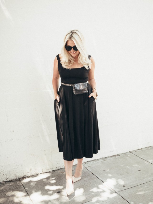 Fashion blogger KatWalkSF wearing the Reformation Rou Midi Fit & Flare Dress, Reformation Dresses for Curvy Girls