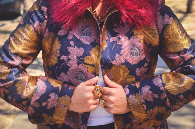ASOS - Dolly Coat in Floral with Faux Fur Collar