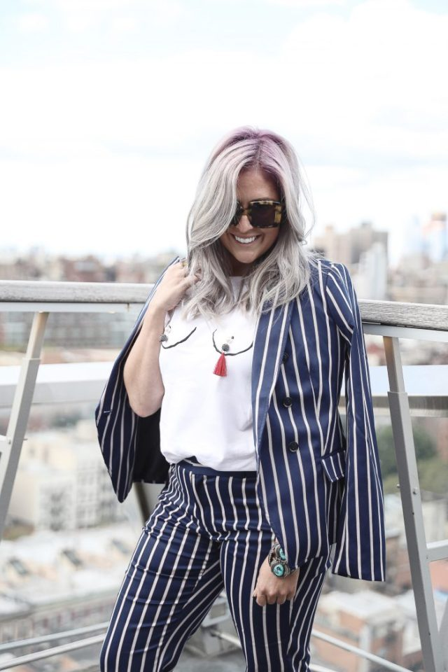 Kat Ensign, Kathleen Ensign, KatWalkSF, Never Fully Dressed, Karen Walker, NYFW, BR, NYC, Style Blogger, Trend Alert, Fall Fashion, Purple Hair, Silver Hair, Rooftop, Liketoknow.it heart wall, San Francisco Blogger