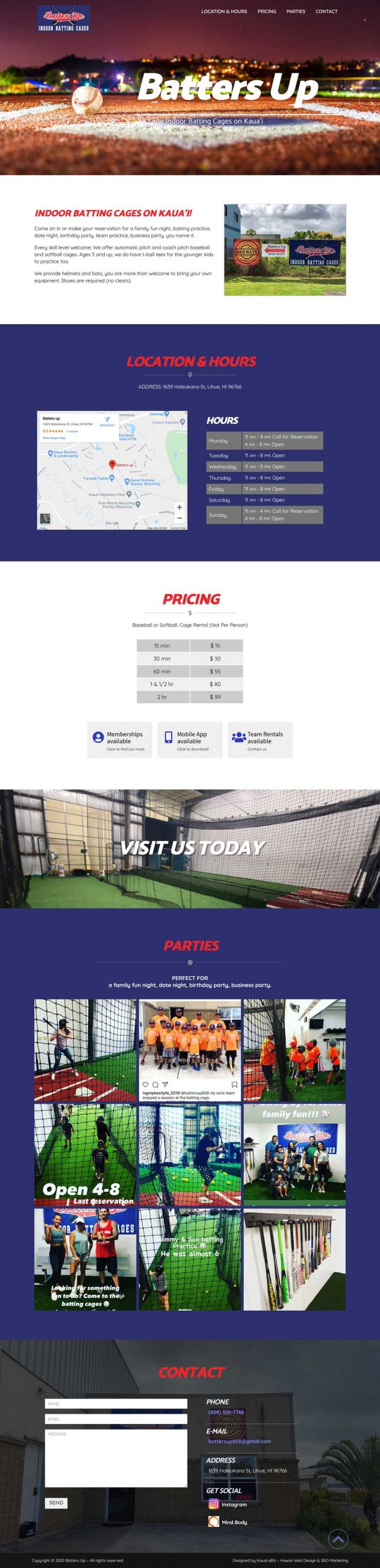 Baseball Batting Cage Website Kauai