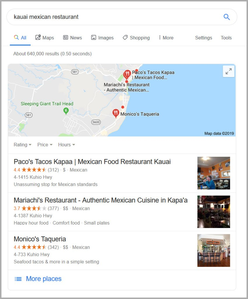 Google Maps Local Packs-Kapaa Kauai