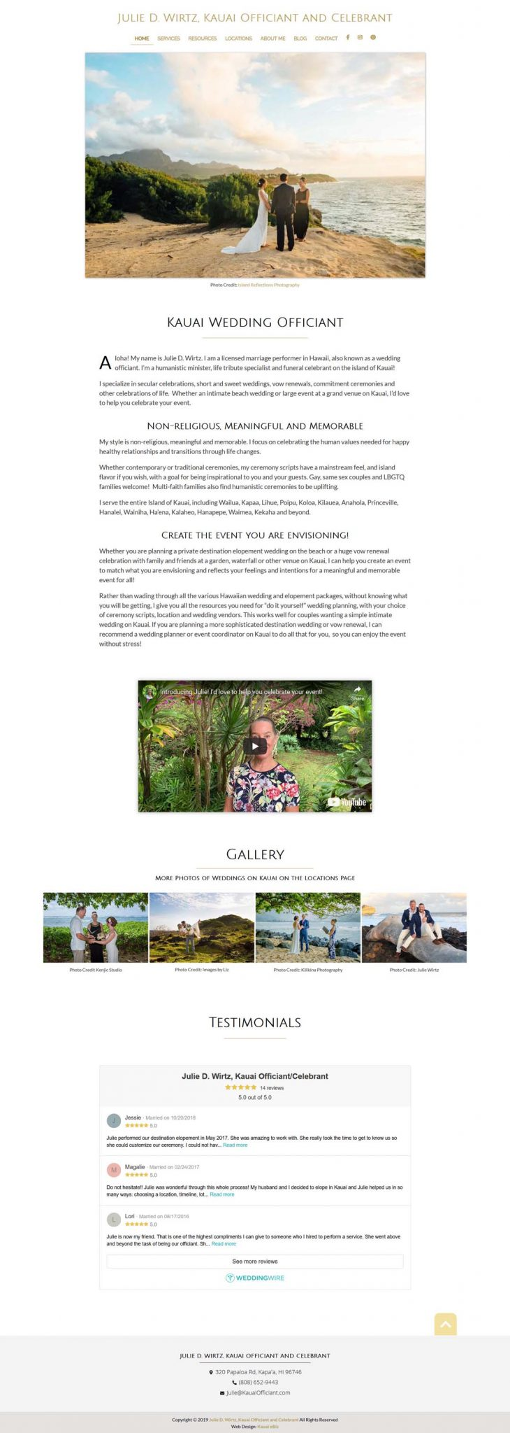 Kauai Wedding Officiant Website