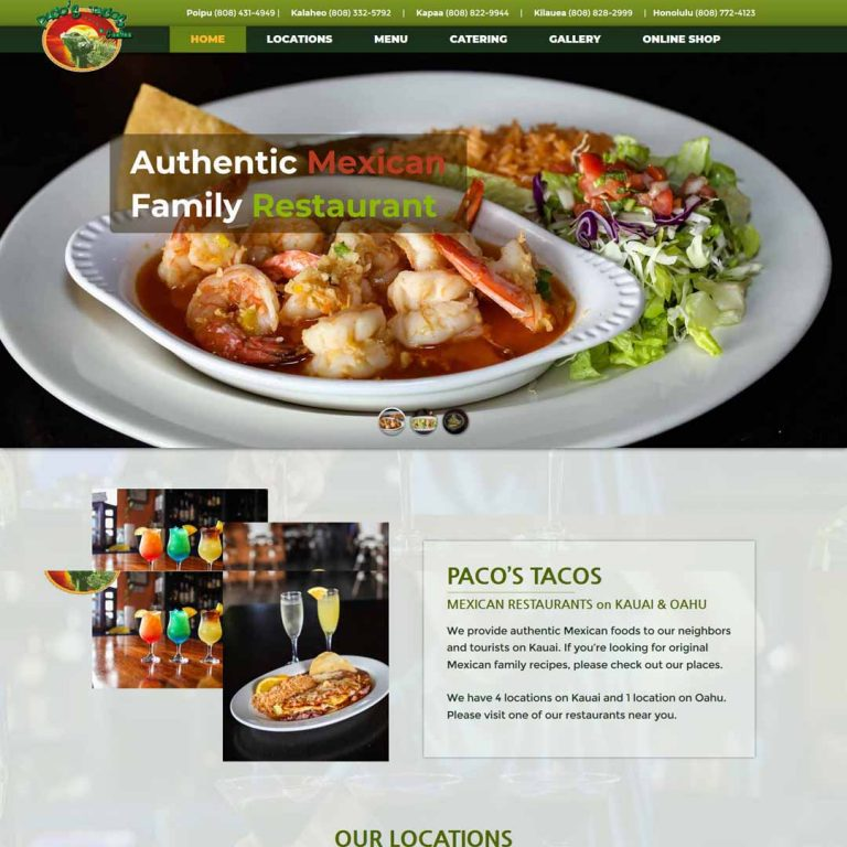 Kauai Mexican Restaurant Website - Paco's Tacos