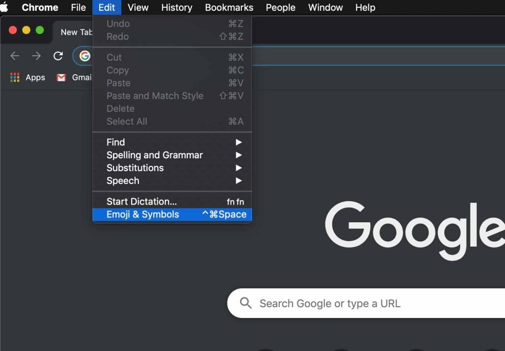 Emoji & Symbols Menu on Mac