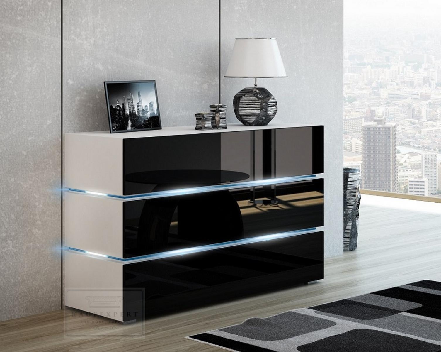 KAUFEXPERT  Kommode Shine Sideboard 120 cm Schwarz HochglanzWei LED Beleuchtung Modern Design