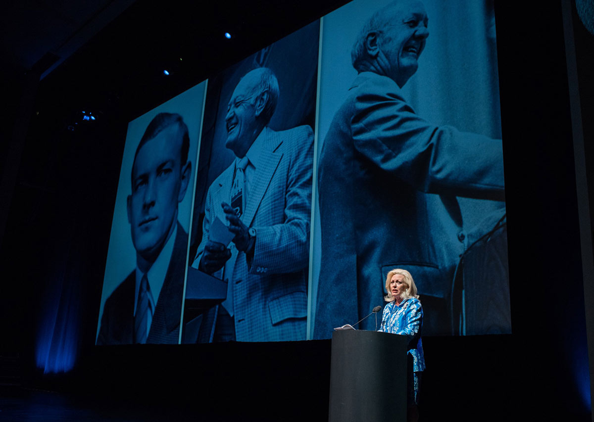 Julia Kauffman speaks at the EMK100 event