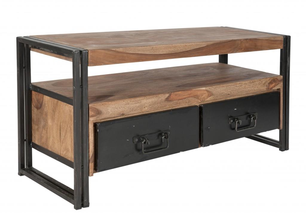 Lowboard TV Board Konsole Kommode Panama Metall Massivholz