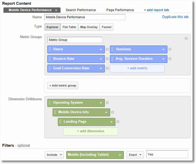custom report mobile device google analytics