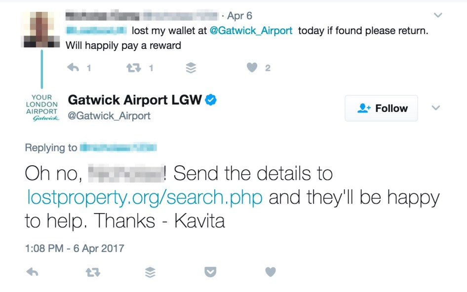 Providing assistance to a customer at Gatwick