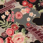 Japanese flower fabric with gold by Kokka