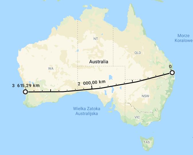 mapa pokazująca odległość między wschodnim azachodnim wybrzeżem Australii