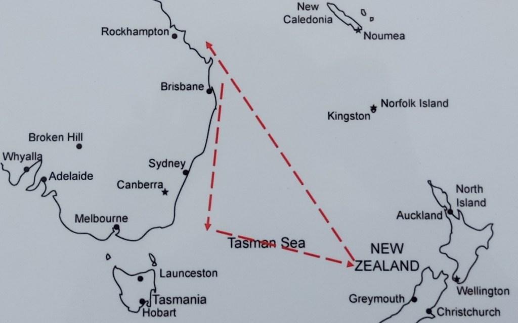 mapa podróży wraku Sellina Yeppoon