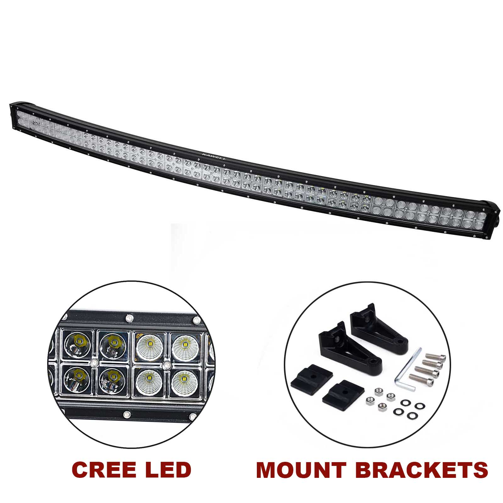Kawell 52 300w Cree Curved Spot And Flood Combo Beam Led