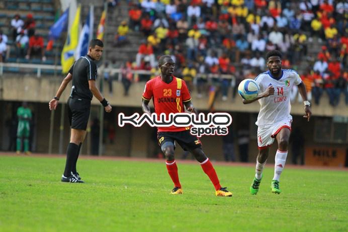 Uganda Cranes' Mike Azira in action against Congo Brazzaville.