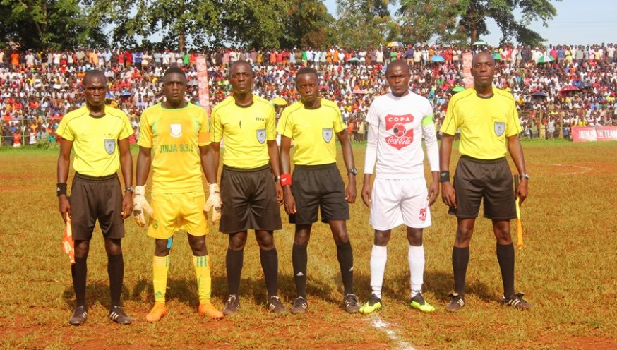 Excitement as Jinja SS eject resilient Bulo Parents to qualify for Copa 2019 semifinals #Uganda Jinja SS Bulo Parents captains with match officials