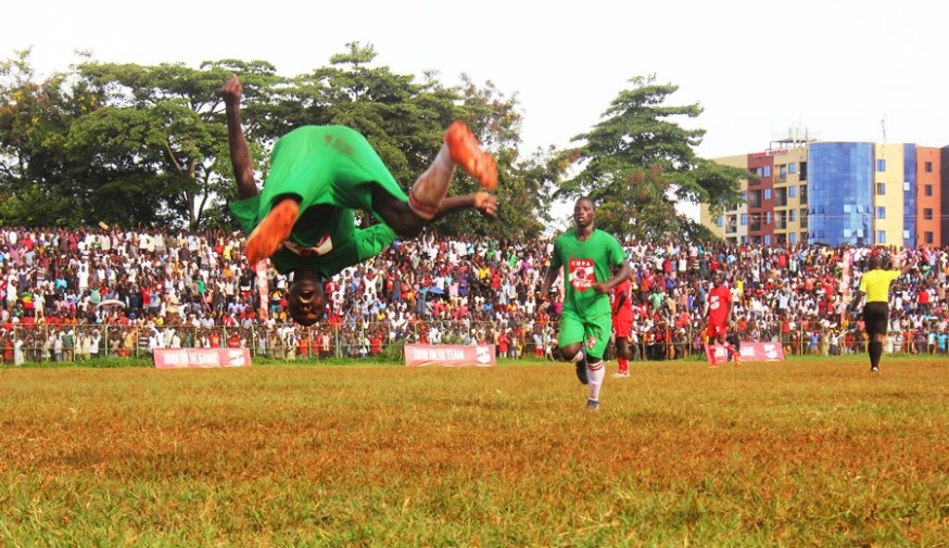 The passionate crowd to push the home team all the way #Uganda Lawrence Enzo Tezikya celebrates the second goal for Jinja SS against St Julian High School 1