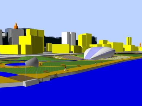 Abbildung von Architekturen an einem Fluss