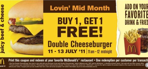 McDonald's Malaysia Double Cheese burgers promotion