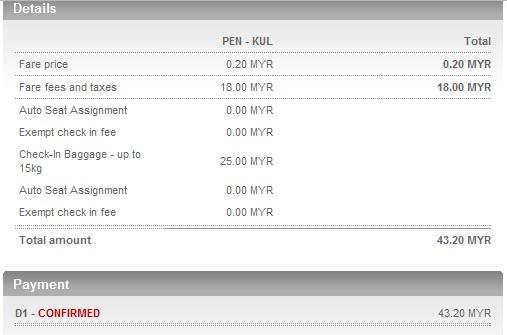 AirAsia PEN KL Flight Ticket Price