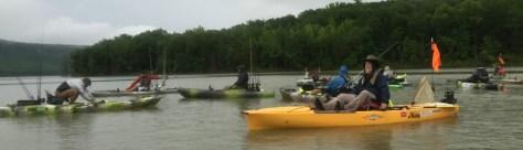 Bass Boat vs Kayak - Kayaks ready for a shotgun start on Lake Fort Smith.