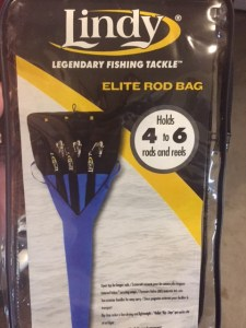 Lindy rod bag holds 4 to 6 rods with reels.