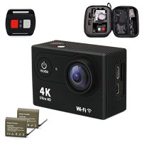 PREFECO Action Camera 4K WiFi Ultra HD Waterproof Sports Camera 16MP 170 Degree Wide Angle 2 inch LCD Screen/2.4G Remote Control 2 Rechargeable 1050mAh Batteries Free Travel Bag