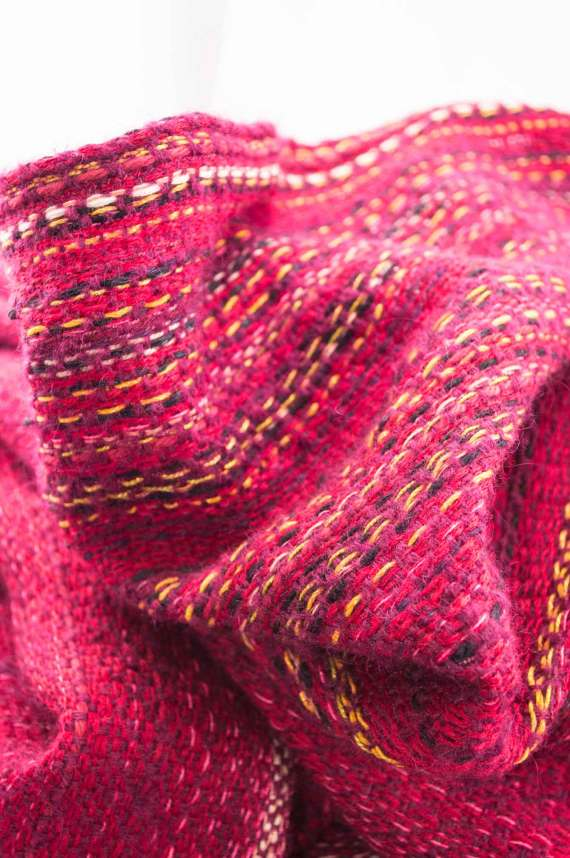 Throw blanketcreated with violetmohair, cashmere, wool, cotton, and linen.  Technique:Throw blanket hand-woven in a traditional way on non-mechanical looms in the 7th arrondissement of Paris in France.  Finishes: Right edge. Double stitching. 2 edges with 9 cm wool fringes.  Size: 150 x 235 cm.  Single piece / 1 copy only.